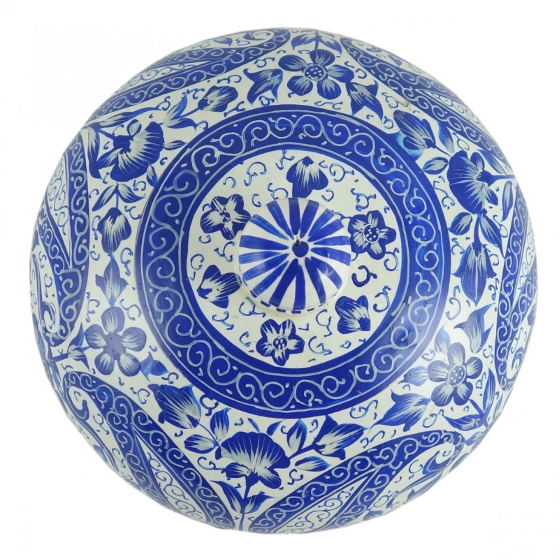 PAPER MACHE POWDER BOWL BLUE DESIGN