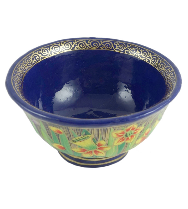 PAPER MACHE 4 INCH BOWL BLUE DESIGN