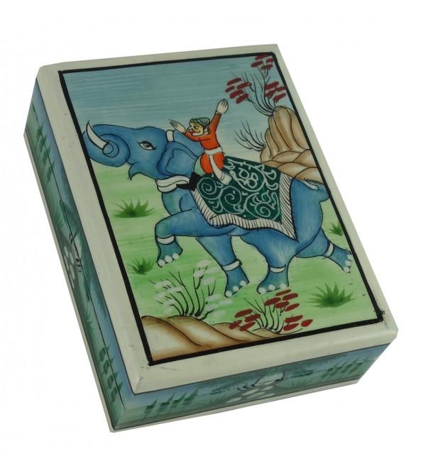 PAPTE MACHE FLAT BOX 4X3 MUGHAL DESIGN ASSORTED COLOR