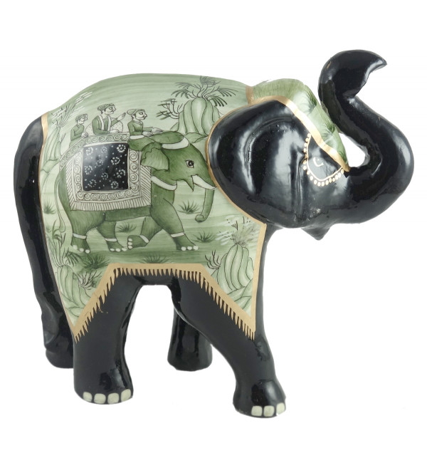 PAPER MACHE MUGHAL ELEPHANT 6 INCH ASSORTED COLOR AND DESIGN
