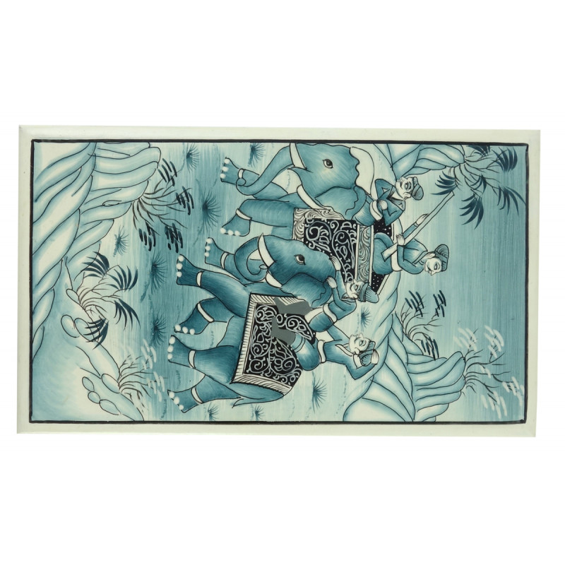 Paper Mache Flat Box 7x4 inch jamawar carpet design
