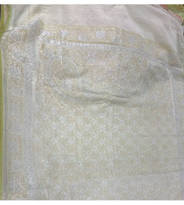 Shwetambari Cotton Handloom Banaras Kadua Saree with Blouse