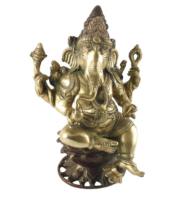 HANDICRAFT BRASS Ganesha sitting 11 INCH