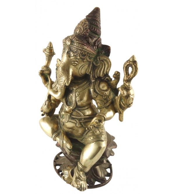 HANDICRAFT BRASS Ganesha sitting 11 INCH