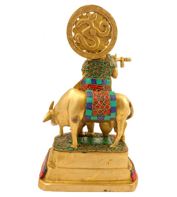 Handicraft Brass Krishna with Lac Work 10 Inch