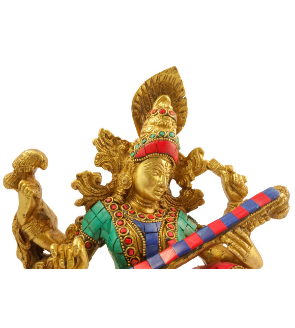 Handicraft Brass Sarashwati with Lac work 10.5 inch