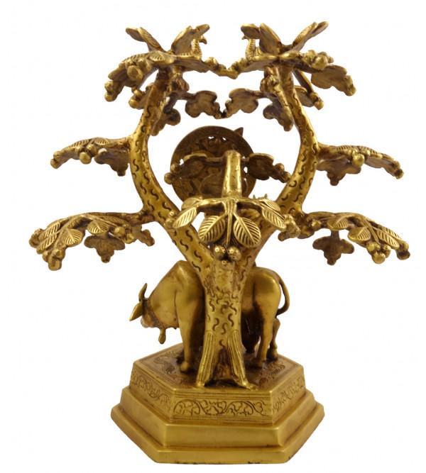 Handicraft Brass Krishna Under the Tree  13 Inch