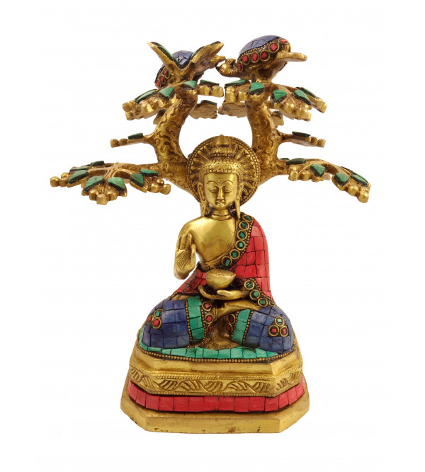 Handicraft Brass Buddha under Tree with Lac Work
