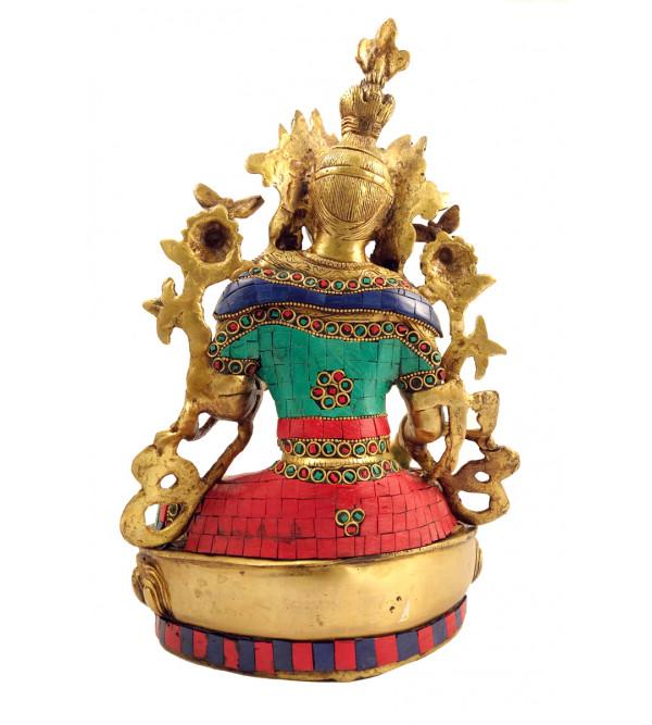 Handicraft Brass Tara sitting 13 Inch with Lac Work
