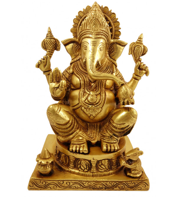Handicraft Brass Ganesha Sitting  10 Inch