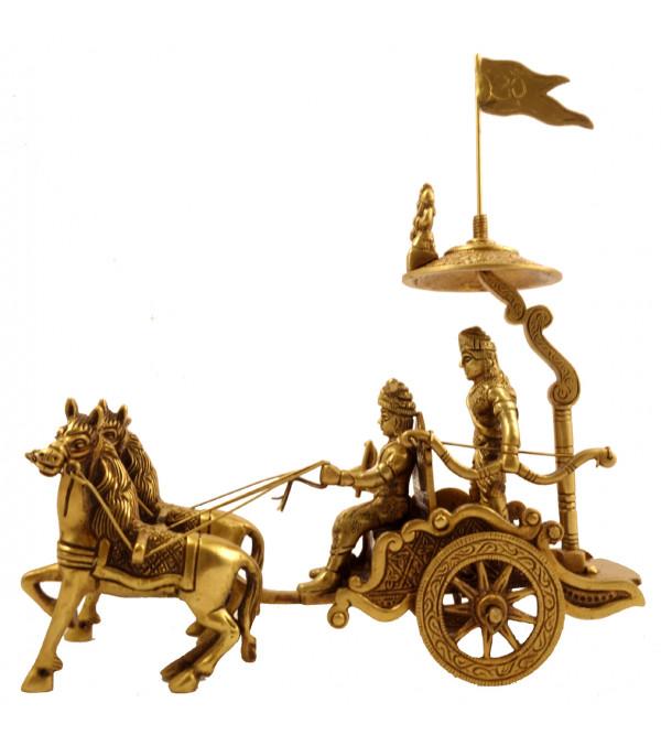 Handicraft Brass Arjun Rath 2 Horses 8.5 Inch