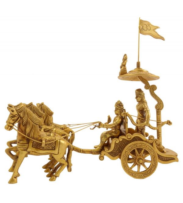 Handicraft Brass Arjun Rath with 4 Horses 8.5 Inch