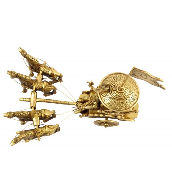 Handicraft Brass Arjun Rath with 4 Horses 8.5 Inch