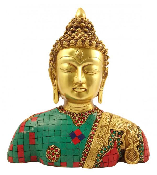 Handicraft Brass Buddha Bust Stone Work 10 Inch