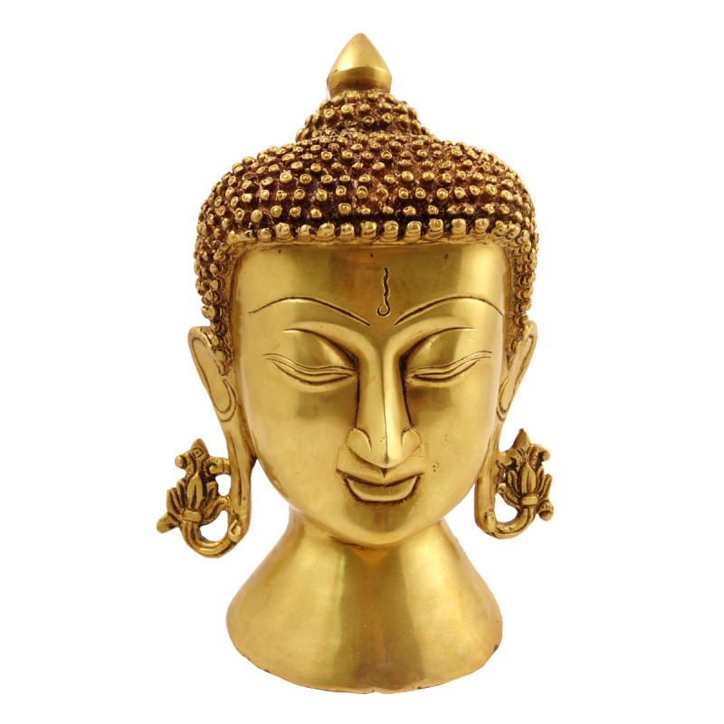 Handicraft Brass Buddha Head 8 Inch