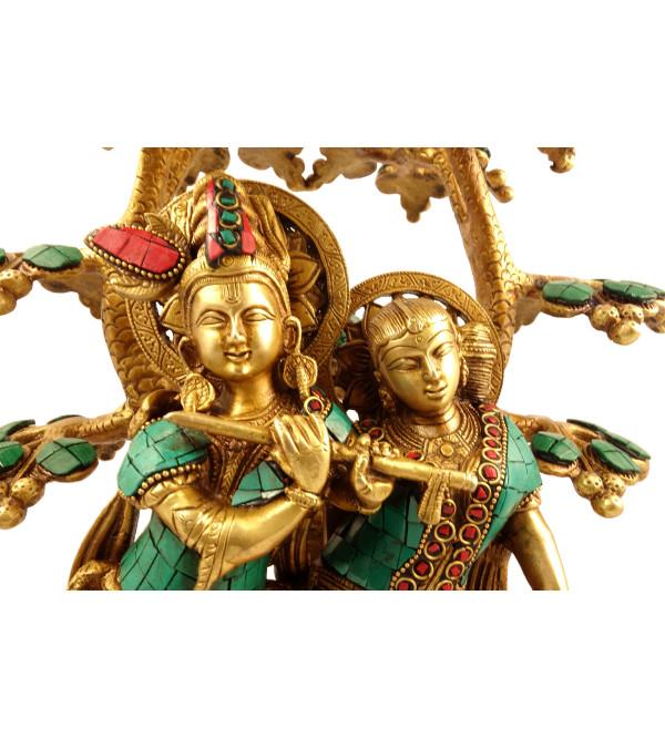 Handicraft Brass Radha Krishna under Tree with Stone Work 15 inch