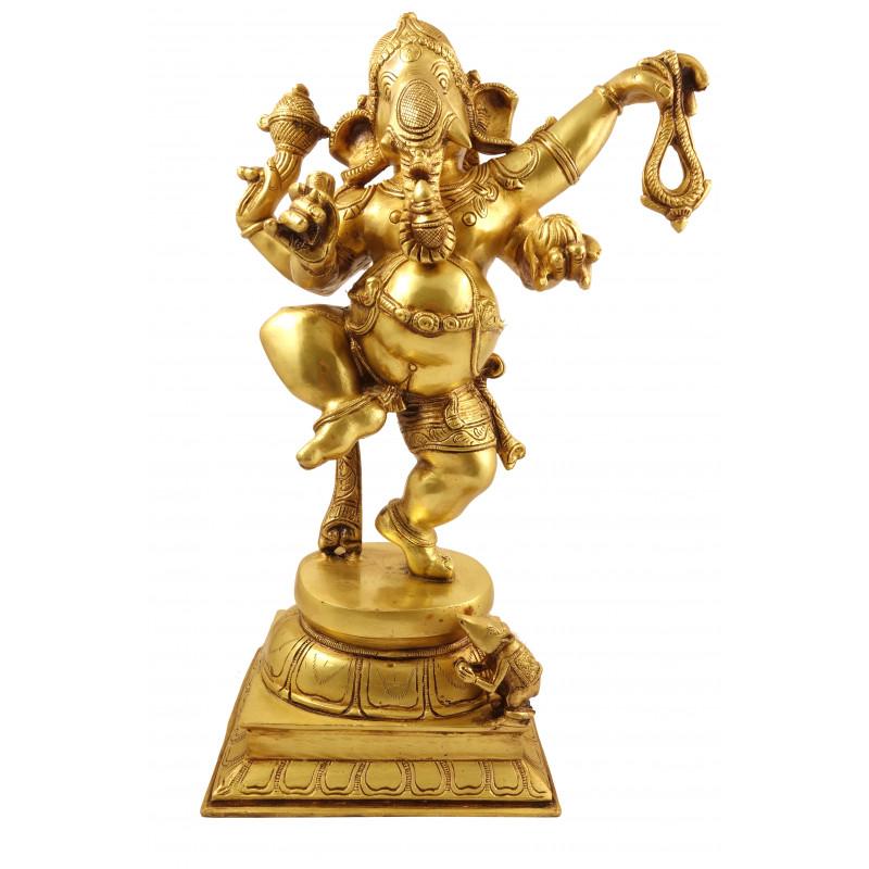Handicraft Brass Dancing Ganesh 17 Inch