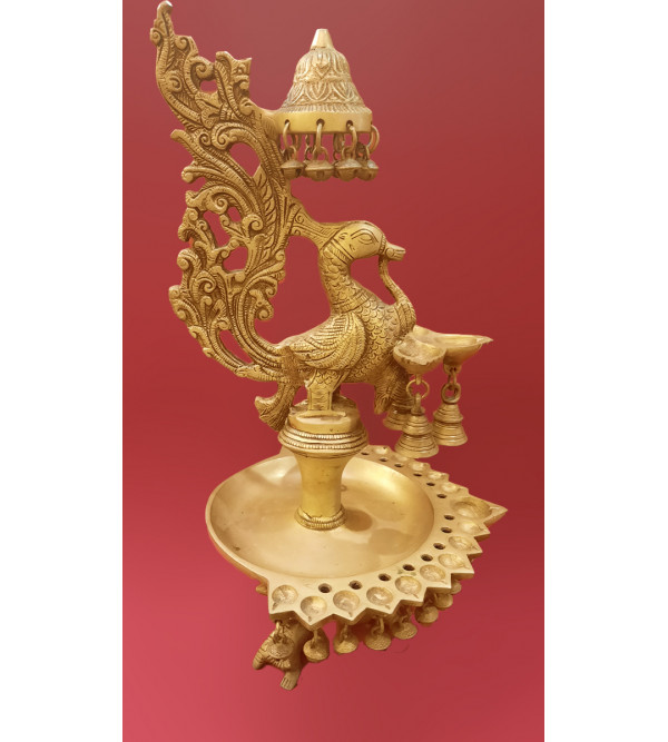 Oil Lamp Handcrafted In Brass Size 16 Inches