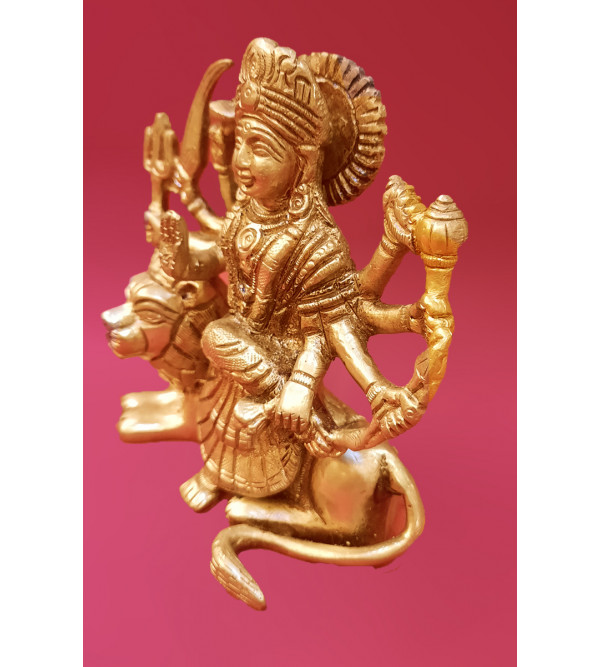 Goddess Durga Handcrafted In Brass Size 4.5 Inches