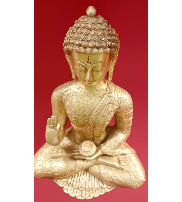 Brass Handcrafted Buddha Sitting 13inch