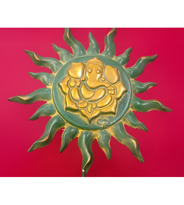 Brass Handcrafted Sun Mask  antique color 9 inch