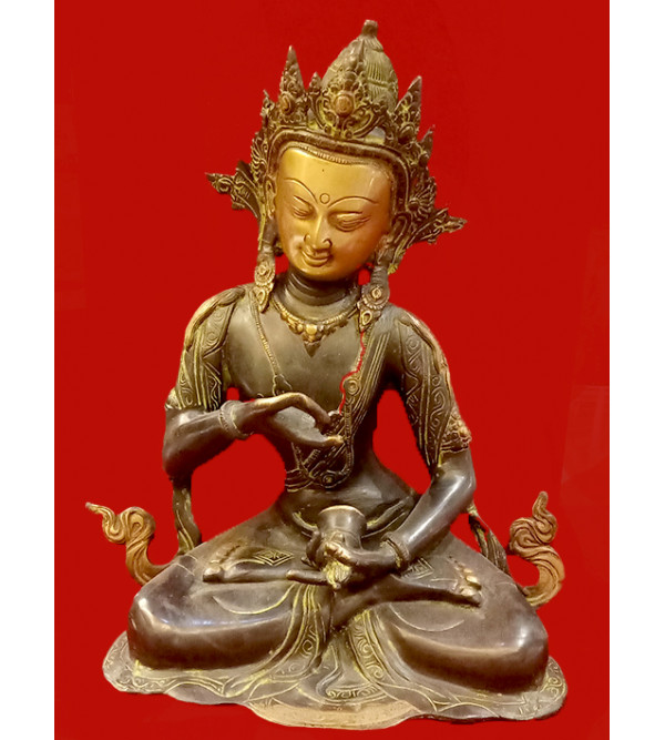 BRASS TARA SITTING ANTIQUE COLOR 12 inch