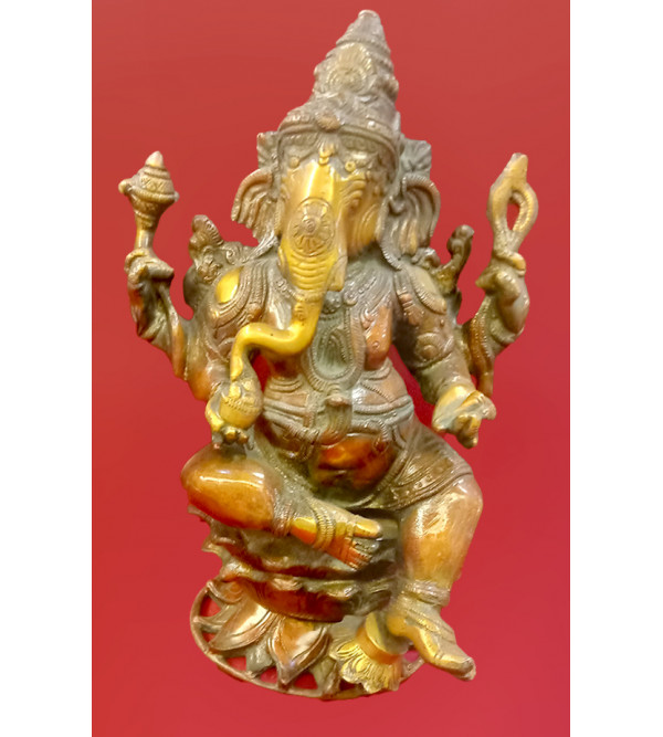 Ganesha Sitting Handcrafted In Brass Size 11 Inches