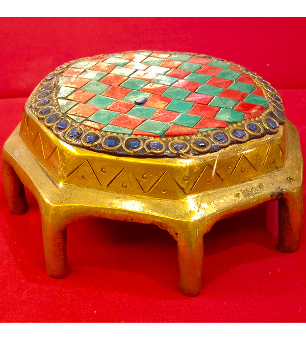 Brass Handcrafted Chowki  With Stone work 5inch