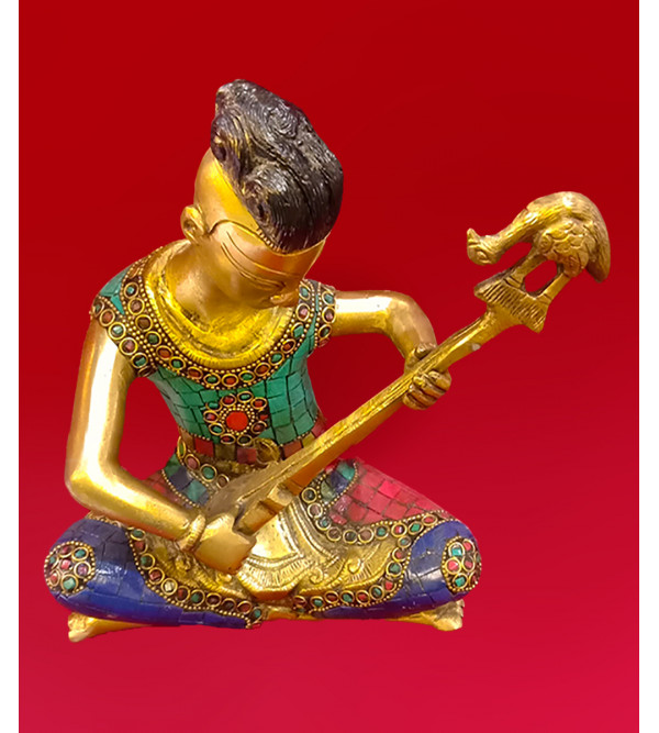 Brass Handcrafted Musician 9 inches stone  work
