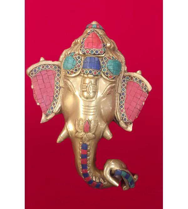 Brass Handcrafted Ganesh Mask stone work 11 inch