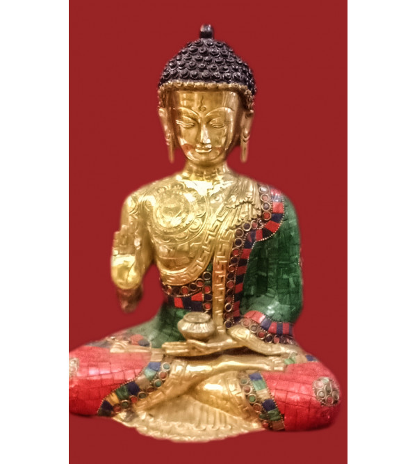 Brass Handcrafted Buddha Sitting with Stone Work 13inch