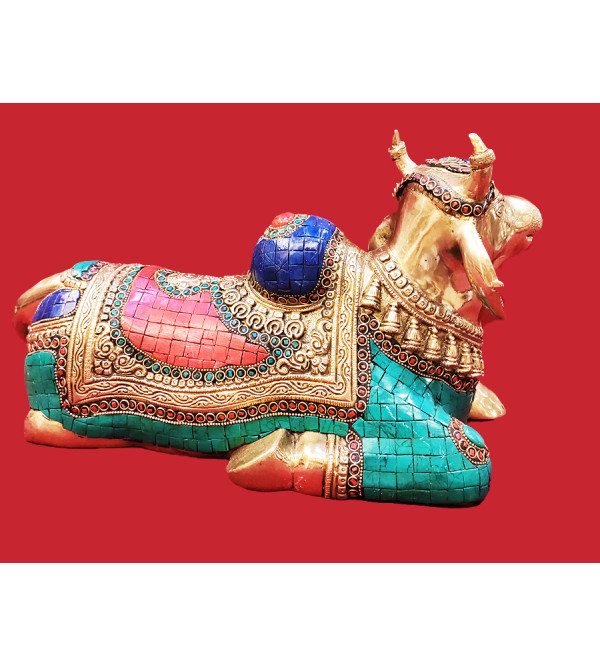 Brass Handcrafted Nandi With Stone 8inch