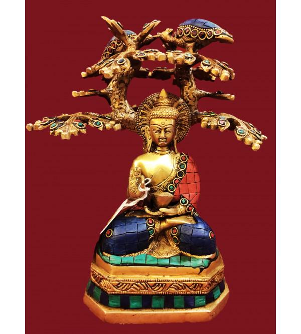 BRASS BUDDHA TREE STONE WORK 9 INCH