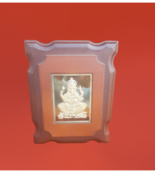 MOMENTO GOLD PLATED GANESH JI 7X6 INCH WITH WDN. FRAME
