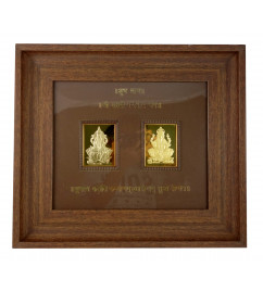 HANDICRAFT WALL MEMENTO GOLD PLATED LAKSHMI GANESH WOODEN FRAME
