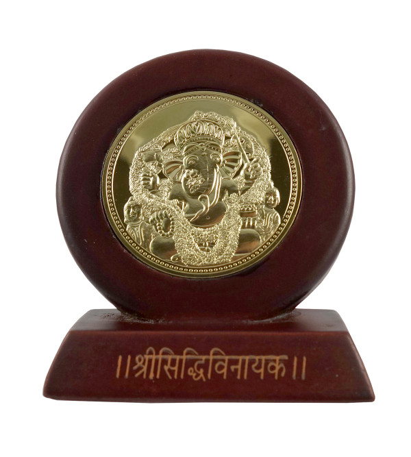 HANDICRAFT CAR MEMENTO GOLD PLATED SIDDIVINAYAK