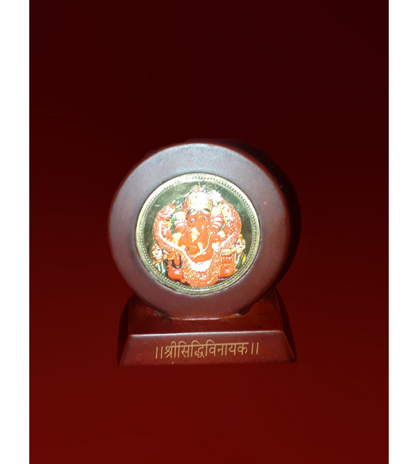MOMENTO GOLD PLATED GANESH JI 2.5X2.5 INCH WITH WDN. FRAME