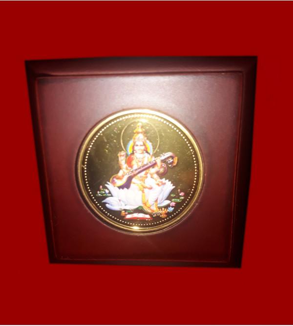 Handicrafts Brass Gold Plated Memento Goddess Lakshmi  3x3 Inch