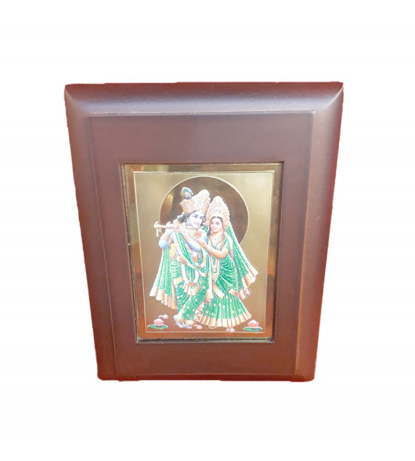 MOMENTO GOLD PLATED RADHA KRISHNA 3.75X4.75 INCH WITH WDN. FRAME