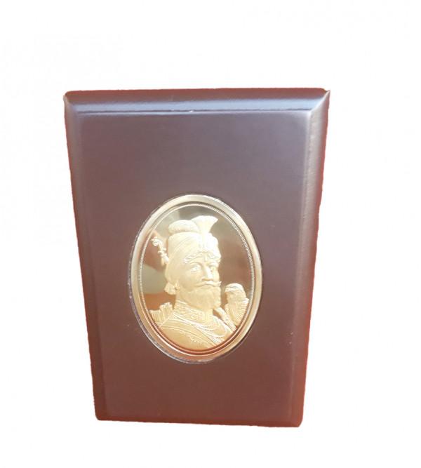 Handicrafts Brass Gold Plated Memento Guru Govind Singh 3x5 Inch