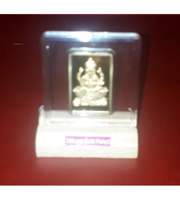 Handicrafts Brass Gold Plated Memento Lord Ganesh Inch 2X2 Inch