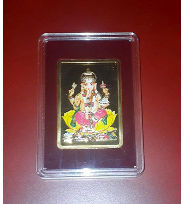 Handicrafts Brass Gold Plated Memento Lord Ganesh 7x6 Inch