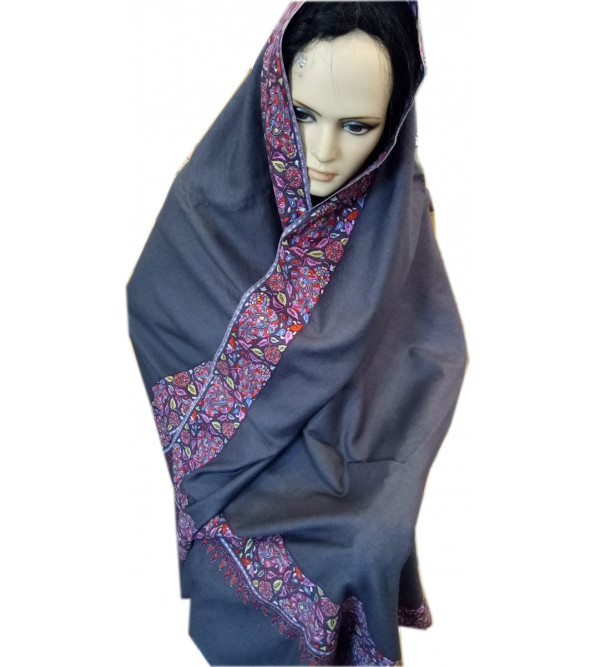 Pashmina Shawl Hand  Embroidered in Kashmir, Size 40X80 Inch