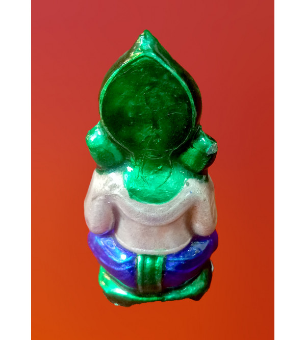 Handcrafted Silver Gulabi Meenakari Ganesha Small Size 2.7x1 Inch