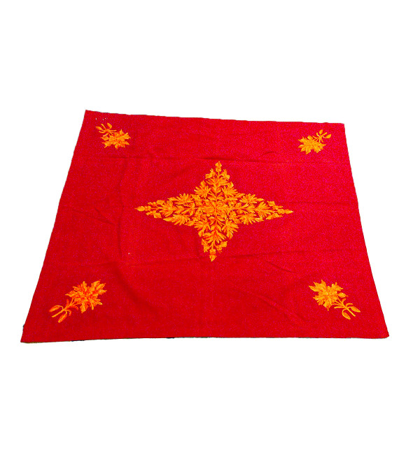 Cotton Sozni Hand Embroidered Table Cover Size 36x36 Inch