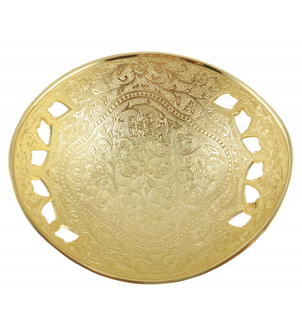 HANDICRAFT BRASS BOWL GOLD PLATED 7.5 INCH