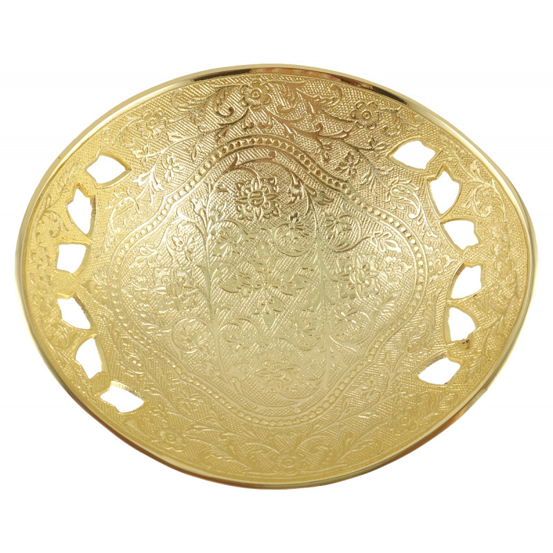 HANDICRAFT BRASS BOWL GOLD PLATED 7.5 INCH