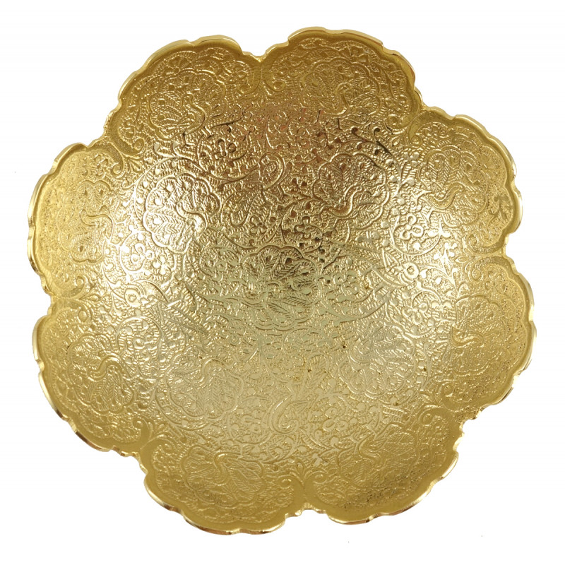 HANDICRAFT BOWL BRASS GOLD PLATED 6 INCH