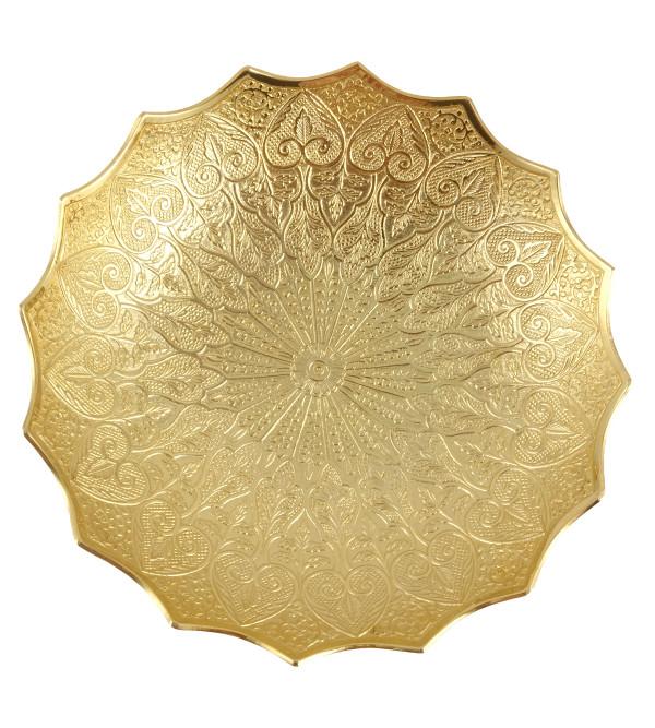 HANDICRAFT BOWL BRASS GOLD PLATED 7.5 INCH