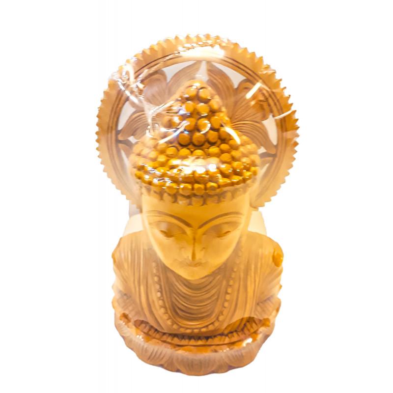 WOODEN BUDDHA FACE 7 INCH
